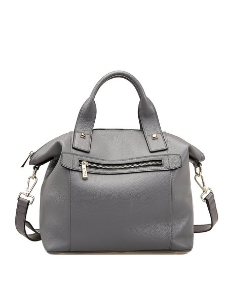 Gray Solid Cowhide Leather Casual Shoulder Bag
