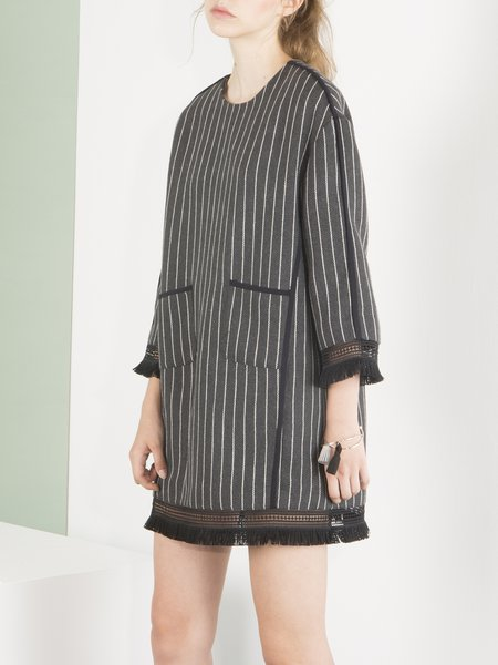 Deep Gray Stripes Fringed Crew Neck Statement Mini Dress