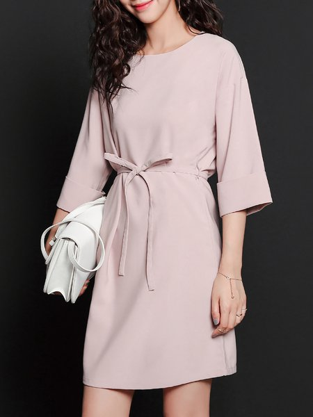 Pink 3/4 Sleeve A-line Simple Mini Dress