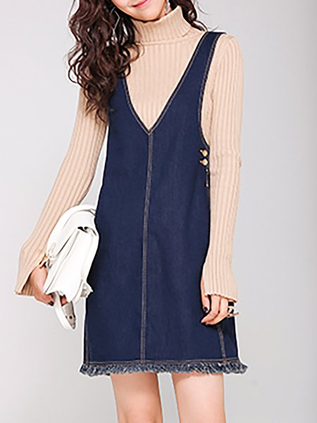 Blue Casual Denim Overall Mini Dress