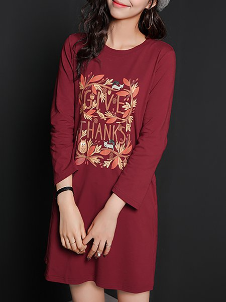 Burgundy Long Sleeve Cotton-blend Mini Dress