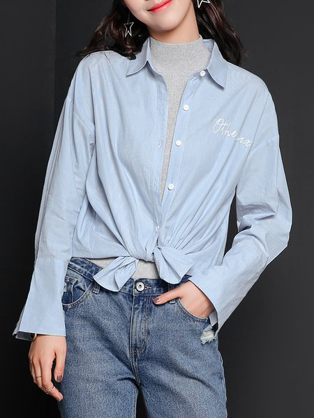 Casual Shirt Collar Long Sleeve Plain H-line Blouse