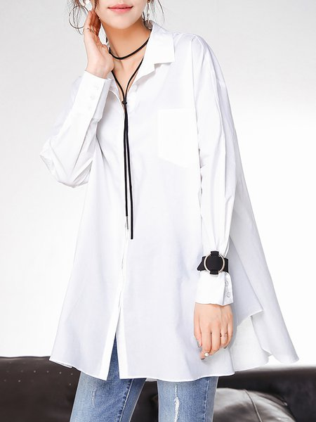 White Shirt Collar Cotton Casual H-line Plain Tunic