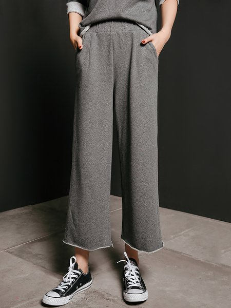 Gray H-line Cotton Casual Straight Leg Pants