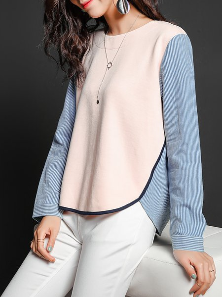 Pink Color-block Long Sleeve Crew Neck H-line Blouse