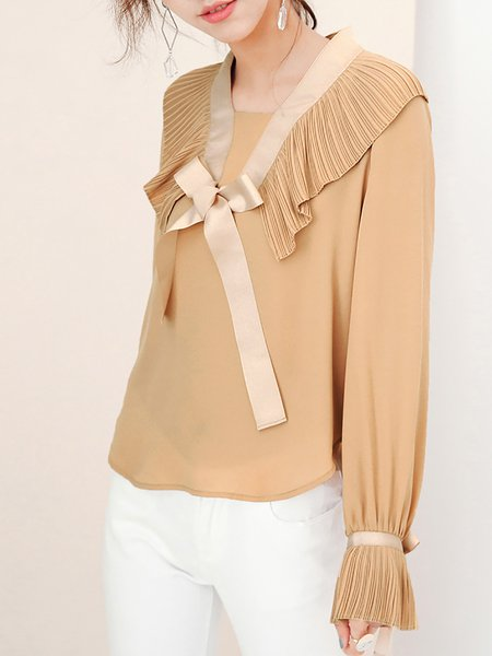 Casual Square Neck H-line Bow Long Sleeve Blouse