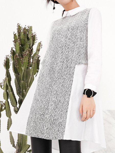Casual Color-block Long Sleeve Polyester Tunic