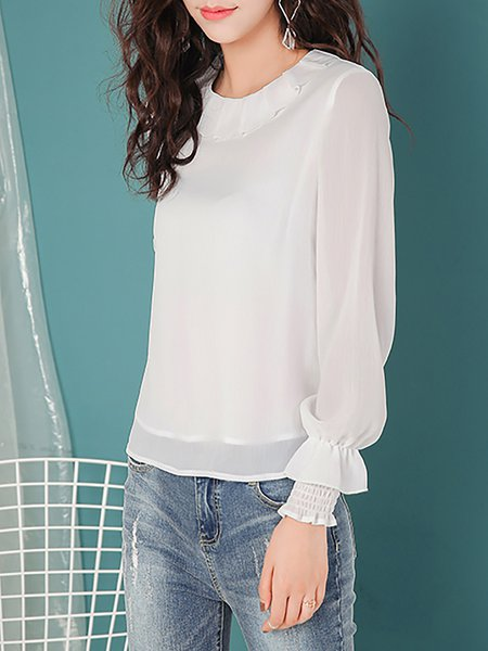 White Polyester Long Sleeve H-line Ruffled Blouse
