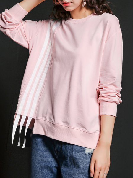 Pink Paneled Casual Stripes Sweatshirt