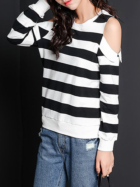 White Crew Neck Stripes Long Sleeve Cutout Sweatshirt