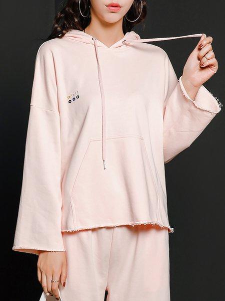Pink Casual Plain H-line Hoodie