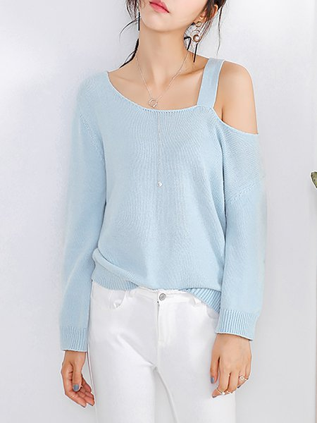 Long Sleeve Casual H-line Knitted Plain Sweater