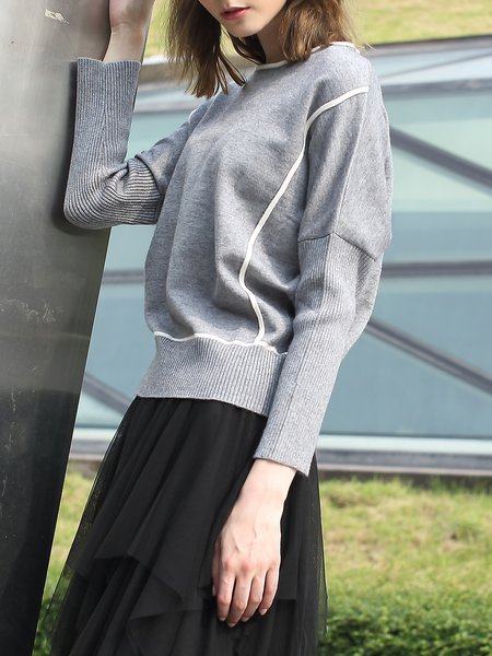 Gray Knitted Acrylic Casual Plain Long Sleeved Top