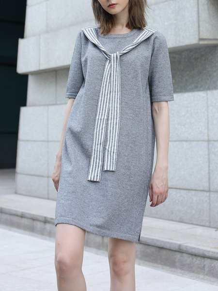 Gray H-line Casual Paneled Midi Dress