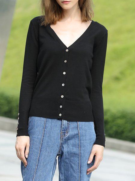 Black Long Sleeve Plain Knitted Acrylic Simple Cardigan