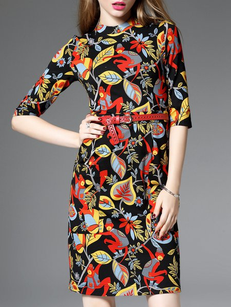 Red Floral-print Half Sleeve Floral Midi Dress