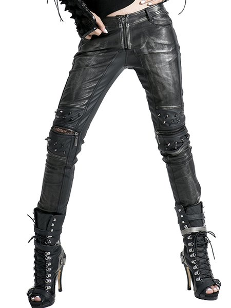 Black PU Zipper Street Skinny Leg Pants