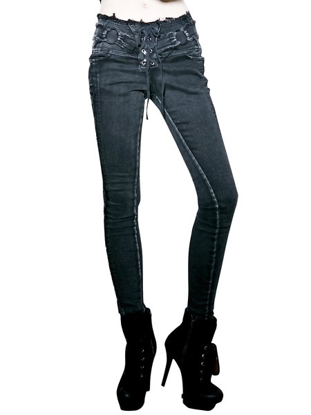 Black Street Denim Washed Straight Leg Pants