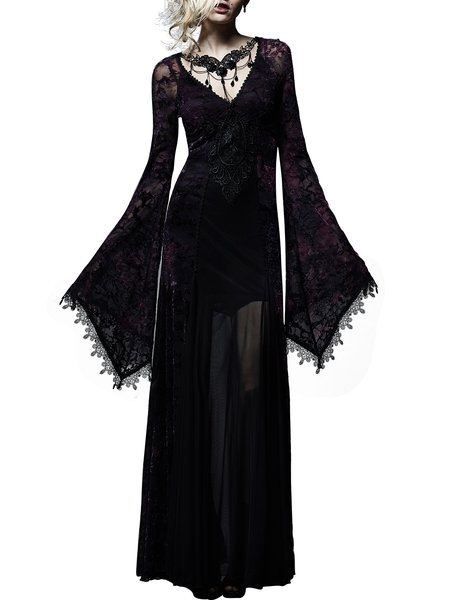 Black A-line Lace Long Sleeve V Neck Maxi Dress