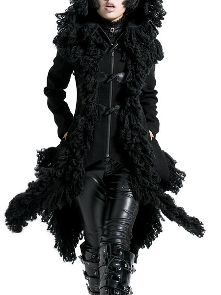 Black Polyester Statement Asymmetrical Hoodie Coat