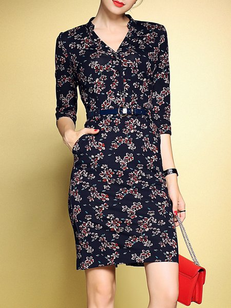 Printed Casual V-neck Sheath Midi Dress