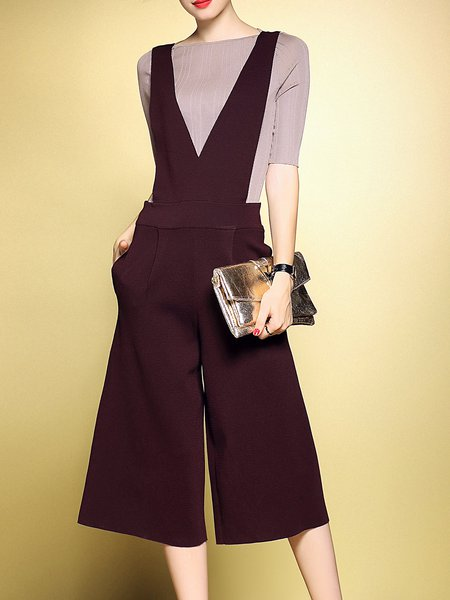 Brown Casual Two Piece Jumpsuit