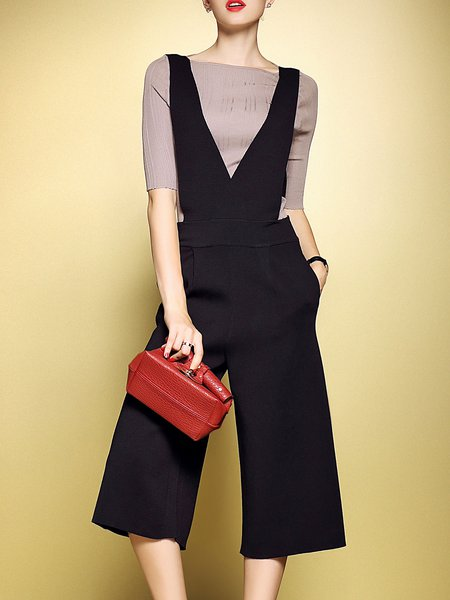 Black Two Piece Half Sleeve Bateau/boat Neck Casual Jumpsuit
