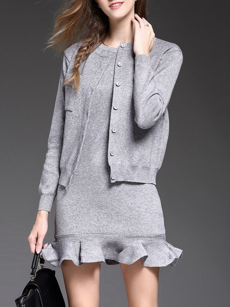 Gray Long Sleeve Knitted Ruffled Two Piece Mini Dress