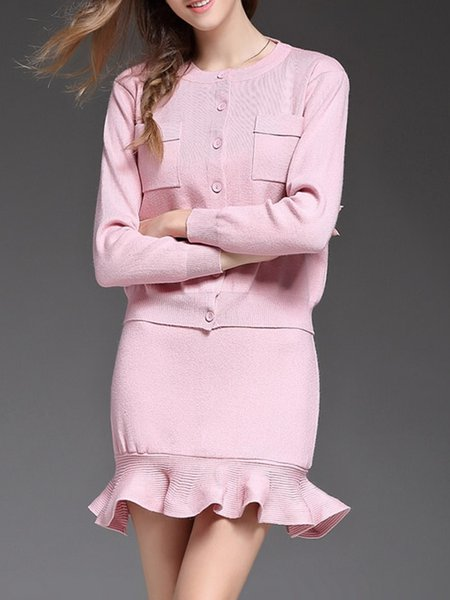 Long Sleeve Two Piece Girly Wool blend Mini Dress