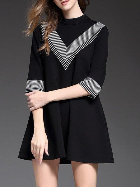 Black Stripes Cotton-blend 3/4 Sleeve Mini Dress