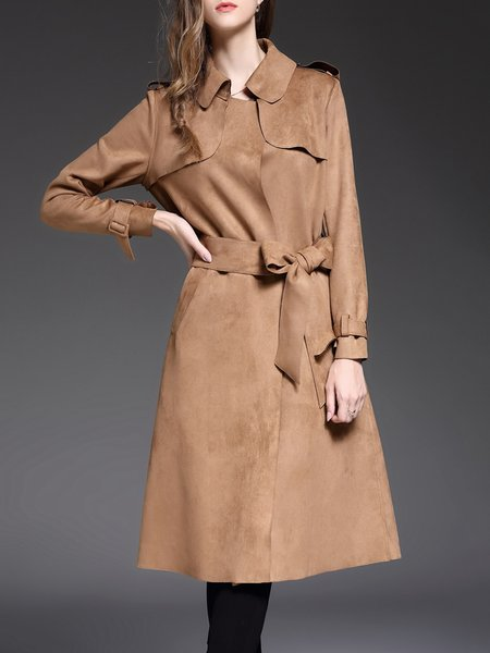 Khaki Work Paneled Shirt Collar Suede Trench Coat With Belt