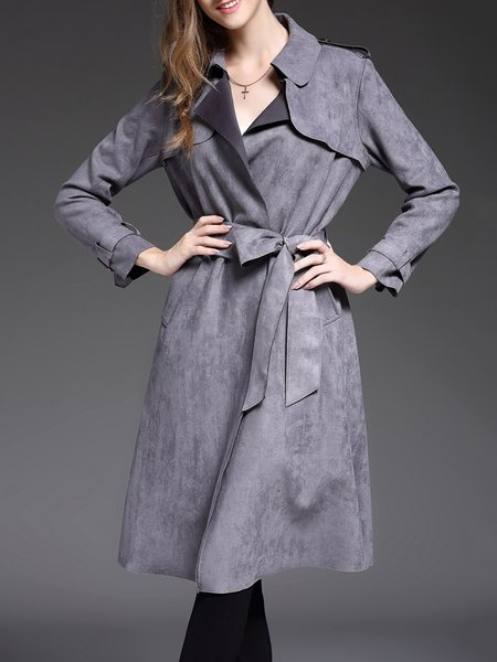 Gray Paneled Suede Work Trench Coat With Belt