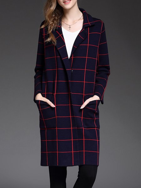 Blue Checkered/Plaid Pockets Casual Lapel Coat