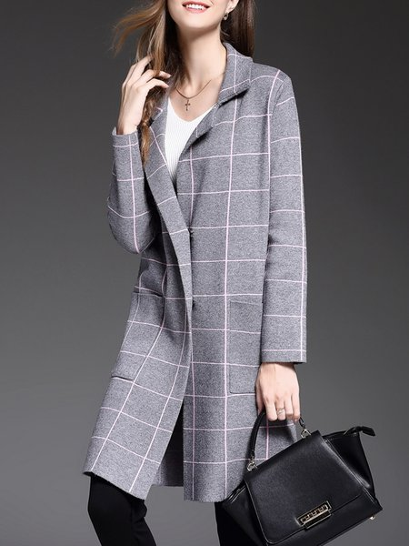 Gray Checkered/Plaid Pockets Long Sleeve Wool Blend Coat