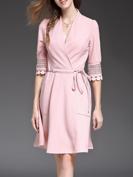 Pink Pierced Elegant Plain Drawcord Midi Dress