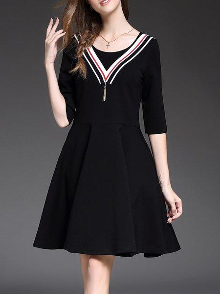 Black Cotton-blend Paneled Casual Tassel Midi Dress