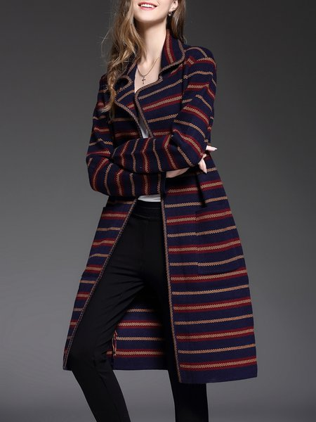 Multicolor Pockets Stripes Long Sleeve Coat
