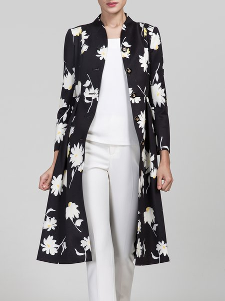 Black Floral Printed Long Sleeve Trench Coat