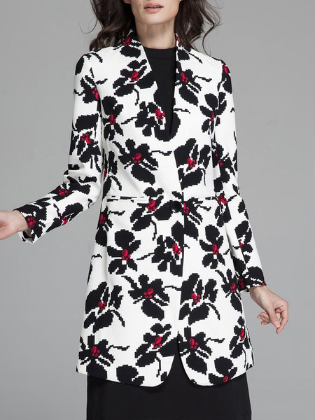 White Woven Printed Long Sleeve Polyester Coat