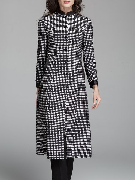 Printed Casual Long Sleeve Stand Collar Coat
