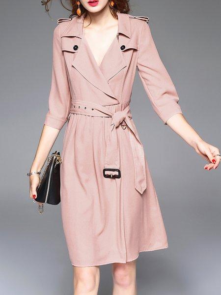 Paneled 3/4 Sleeve Plain Casual Midi Dress with Belt