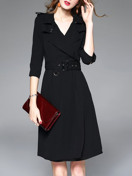 3/4 Sleeve Plain Casual Lapel Midi Dress with Belt