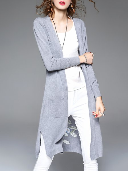 Graphic Casual Viscose Long Sleeve Embroidered Cardigan