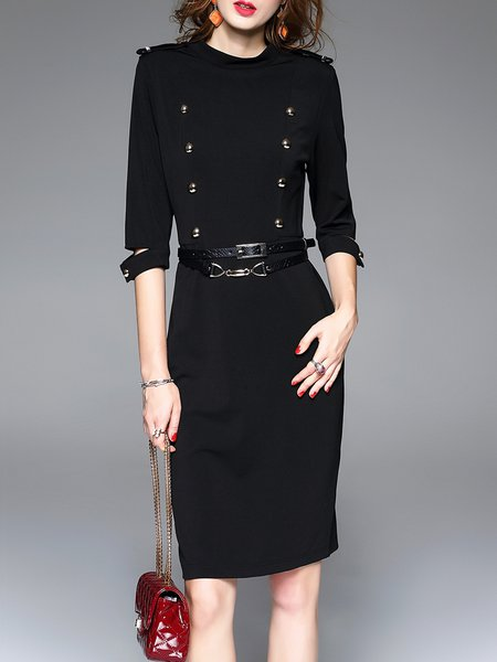 Black Knitted Stand Collar Work Sheath Midi Dress with Belt