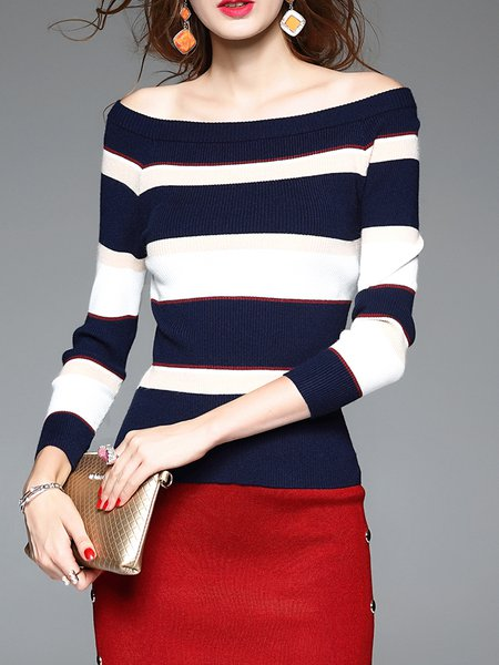 Dark Blue Casual H-line Long Sleeved Top