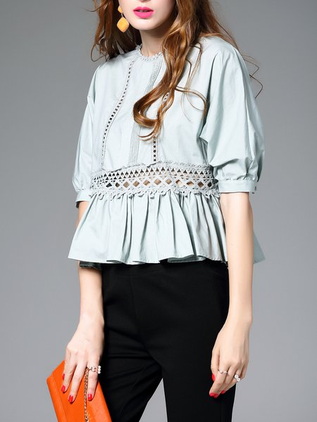 Green Half Sleeve Cotton Crew Neck Blouse