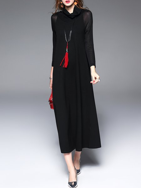 Black Turtleneck Casual Maxi Dress