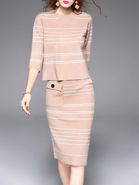 Khaki 3/4 Sleeve Stripes Knitted Two Piece Midi Dress