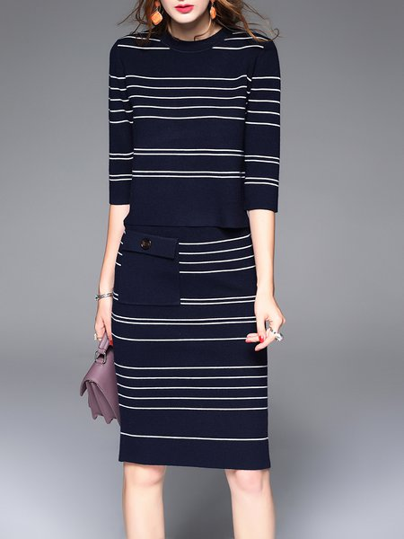 Navy Blue Casual Two Piece Crew Neck Stripes Midi Dress