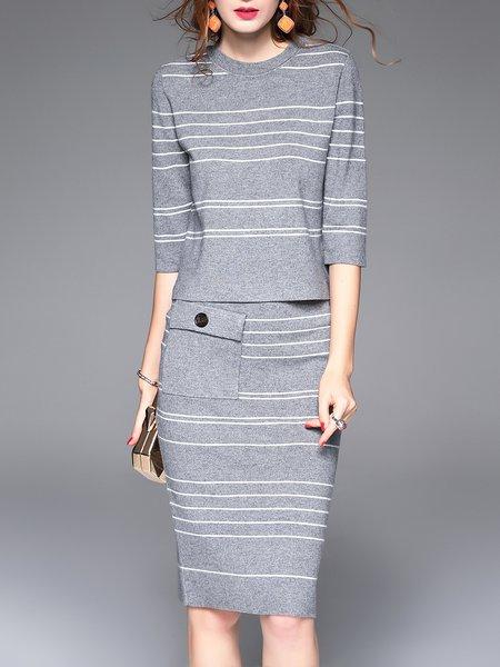 Two Piece 3/4 Sleeve Casual Stripes Midi Dress